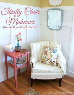 thrifty french chair makeover with annie sloan chalk paint, carpets rugs upholstery, furniture furniture revivals, painting, My reading nook The table mirror and chair are all thrifty finds and all painted with Chalk Paint