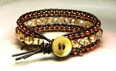 Willow's Chameleon Crystal Leather Wrap Cuff by Aerieanna on Etsy, $24.00