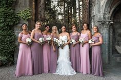 Bride Fitted Lace Mermaid Bridal Gown Bouquet White Pink Rose Peony Florals Bridesmaids Soft Pink Purple Dresses Bouquets Romantic Outdoor Castle Tuscany Wedding http://www.natalymontanari.com/
