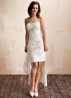 Wedding Dresses - $186.99 - Sheath/Column Sweetheart Asymmetrical Detachable Satin Lace Wedding Dress With Beadwork Crystal Brooch Sequins (002012842) http://jjshouse.com/Sheath-Column-Sweetheart-Asymmetrical-Detachable-Satin-Lace-Wedding-Dress-With-Beadwork-Crystal-Brooch-Sequins-002012842-g12842