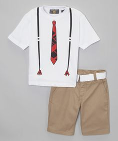 Love this White Tie Tee Set - Toddler by College Boyys on #zulily! #zulilyfinds