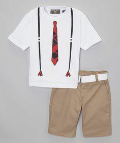 Love this White Tie Tee Set - Toddler by College Boyys on #zulily! #zulilyfinds