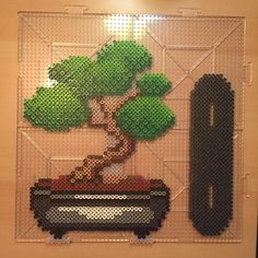My last project before bed, a stand alone bonsai tree. I really hope it stands up #perler #perlerbeads #beads #fusionbeads #pixel #bonsai #bonsaitree