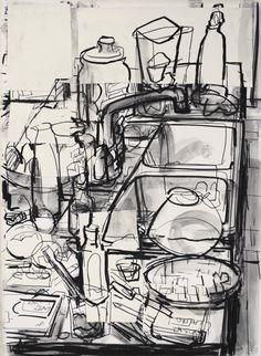 drawing John Bokor - Küchenspüle (Holzkohle, Wäsche und Collage) Making The Most Of A Small Yard Tod Sink Drawing, Kitchen Drawing, Painting & Drawing, Sketchbook Inspiration, Art Sketchbook, Still Life Artists, Still Life Drawing, Interior Sketch, Interior Design
