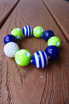 SEAHAWKS 12th Fan Inspired Blue & Green Gameday Bubblegum Bead Chunky Bracelet, Blue Stripes (Adult Size, Regular)