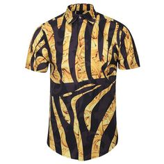 New Fashion Brand Shirt Men Summer Short Sleeve Golden Flowers Print Striped Shirts Casual 3d Shirts