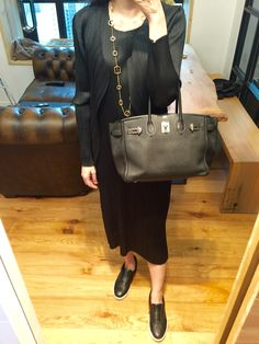 Pleats Please Issey Miyake dress and cardigan, COS slip on, vintage necklace, Hermes Birkin 30.