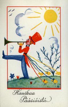 Hauskaa pääsiäistä #pääsiäinen #easter #kortit #cards #aurinko #sun #torvensoittaja Painting, Art, Craft Art, Painting Art, Kunst, Paint, Draw, Paintings