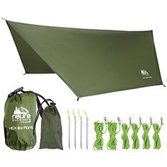 CAMPING HAMMOCK RAIN FLY TENT TARP LIGHTWEIGHT WATERPROOF RIPSTOP NYLON 12'X10' PORTABLE OUTDOOR HEX SHELTER Backpacking Hiking Travel Bushcraft Survival Gear Includes Stuff Sack Stakes Ropes