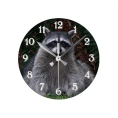 Forest Raccoon Photo Round Clock - image gifts your image here cyo personalize