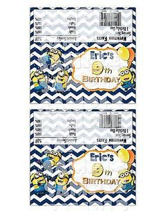 "Printable ""Despicable Me Candy Bar Wrappers"" ""Minion Party Favors"" Minion Party 