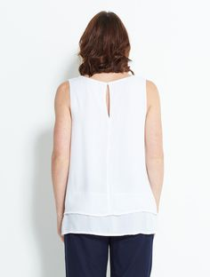 CW42 White Double Layer Vest Top | Nomads Clothing