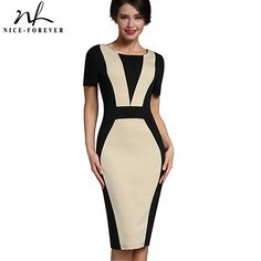 Nice-forever Mature Patchwork Vintage Elegant Casual Work Short Sleeve O-Neck Bodycon Women Office Pencil Slim Dress B331