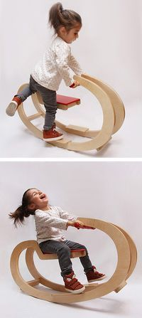 Woodworking Projects For Kids Armenian designer, Nikolay Avakov of DZZZ, has designed EWA, a rocker for the little ones. Kids Woodworking Projects, Cnc Projects, Woodworking Toys, Woodworking Furniture, Woodworking Quotes, Intarsia Woodworking, Woodworking Patterns, Woodworking Machinery, Woodworking Workshop