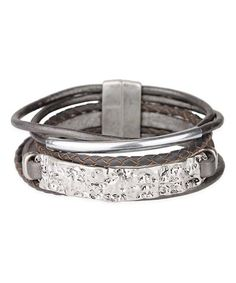 Love this Gray Leather & Silvertone Hammered Bar Braided Bracelet by SAACHI Style on #zulily! #zulilyfinds
