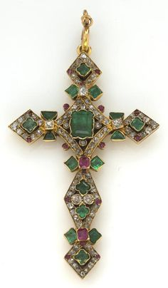 Antique Jewelry An emerald, ruby and diamond cruciform pendant estimated total diamond weight: carat; mounted in eighteen karat gold; dimensions: 2 x 1 Victorian Jewelry, Antique Jewelry, Vintage Jewelry, Handmade Jewelry, Art Nouveau, Templer, Cross Jewelry, Ancient Jewelry, Religious Jewelry