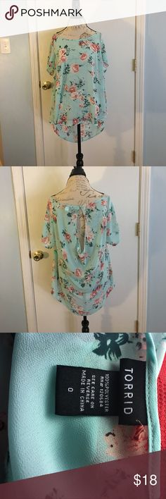Spring and summer blouse Super cute teal with rose design spring and summer blouse gently used. 100% polyester torrid Tops Blouses