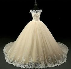Champagne Lace Bridal Gowns Off Shoulder Boat Neck Church Puffy Tulle Wedding Dress Ball Gown Long Chapel Train Custom Wedding Dress, Elegant Wedding Dress, Elegant Dresses, Pretty Dresses, Wedding Gowns, Tulle Wedding, Ugly Dresses, Off Shoulder Wedding Dress, Quince Dresses