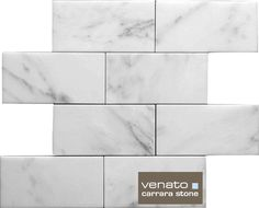 "Carrara (Carrera) Venato Marble Honed 3x6"" Subway Floor and Wall Tile"