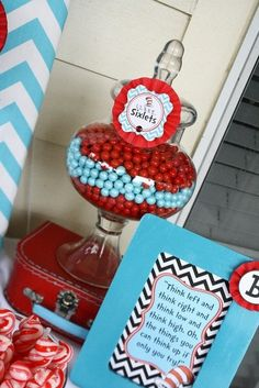 Dr. Seuss Thing 1 and Thing 2 1st Birthday Party for Twins - Twin - Red and Aqua Blue - Chevron & Polka Dots - Candy Sweets Dessert Table - Buffet - decor ideas - framed quotes