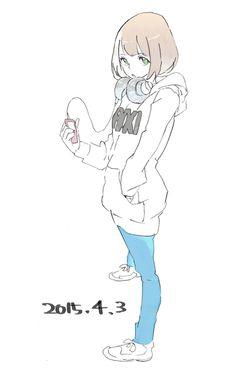 パーカーとヘッドホンって組合わせ好き Kawaii, Anime Chibi, Anime Art, Desu Desu, Manga Drawing Tutorials, Girl Sketch, Anime Sketch, Persona 5, Illustration Girl