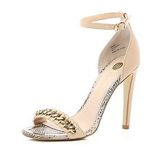 Pink chain front barely there sandals $100.00