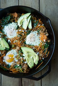 Sweet Potato Breakfast Skillet with eggs, ground beef, and avocado -- looks amazing! You can skip the goat cheese garnish (can't imagine you'd ever miss it!).