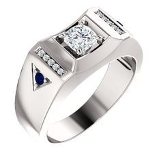 Gorgeous Handcrafted 14 Karat White, Rose or Yellow Gold 1.00 Carat Cushion Cut Moissanite, Diamond & Blue Sapphire Men's Ring. by…