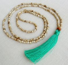 Mint tassel necklace  cream glass beads and a by Brightnewpenny, $24.50