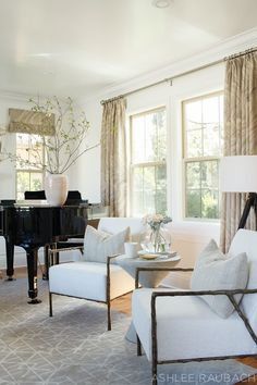 Love the look of a grand piano in the living room, so elegant Neutral Modern Living Room - Owens and Davis