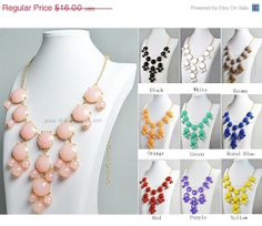 Pink Bubble Necklace Light Pink Necklace Gold Tone by GemPearls, $8.00
