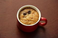 Chocolate chip cookie in a mug - no egg version. It wasn't bad. I think i will try either microwaving more than 30 seconds at first or using canola oil instead of butter next time.
