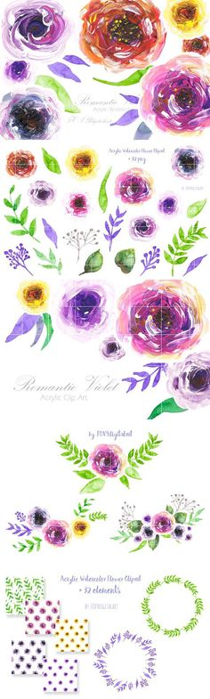watercolor floral clipart . Watercolor Flowers