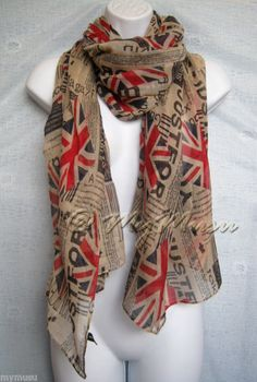 Newspaper UK Flag Print Scarf