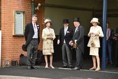 Catching up: Princess Anne was joined by her husband Vice Admiral Sir Timothy Lawrence and Andrew Parker-Bowles