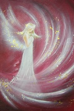 """First COMMUNION gift - Yoga décor - Angel Art Photo Print ღ : """"Angel energy"""" , Mindfulness gift, Guardian Angel, Kitchen Wall Decor Top Paintings, Fairy Paintings, Original Paintings, Angel Artwork, Yoga Decor, Photo Print, Photo D Art, Ouvrages D'art, Angel Pictures"""