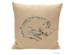 Natural Pillow Cover  Cat sleeping pillow  Throw by Beccatextile
