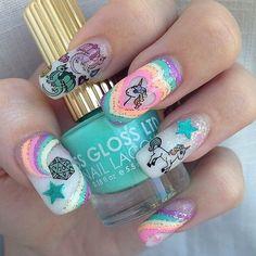 Unicorn nails via Erin Hart. Very Lisa Frank! Unicorn Nails Designs, Unicorn Nail Art, Love Nails, How To Do Nails, Pretty Nails, Manicure, Nail Pops, Magic Nails, Kawaii Nails