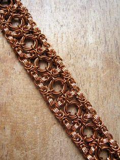 Link chain bracelet. Copper cuff bracelet. Lace sheet bracelet. Chainmail jewelry. Boho chick jewelry. Chainmaille bracelet by OllyBijou
