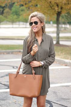 Fall Fashion - Affordable Olive Dress + Tory Burch Tote
