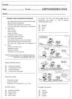 Atividades de interpretação de texto com figuras