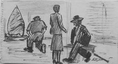 E. Besozzi pitt. s.d. (1954) Personaggi  china su carta cm. 11x20 arc. 1248