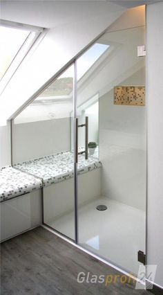 Shower door made of glass for the niche made to measure for you. Your shower door Spitzboden Attic Shower, Small Attic Bathroom, Attic Master Bedroom, Loft Bathroom, Upstairs Bathrooms, Bathroom Doors, Shower Doors, Bathroom Interior, Bathroom Cost