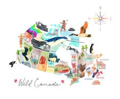 Map of Canada Illustrated Canada Map Large by moonandsparrow