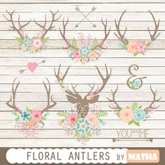 "Floral antlers: ""Floral Antlers"" antler clipart floral bouquet rustic wedding wedding clipart wedding invitations arrows USD) by MashaStudio Create Wedding Invitations, Shower Invitations, Antler Tattoos, Arte Tribal, Shabby, 3d Cards, Floral Bouquets, Floral Flowers, Flower Bouquet Wedding"