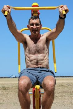 grandad working out shirtless beach hairy guy