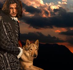 Lorenzo Raveggi with wolf