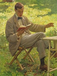 Harold Knight (English portrait, genre and landscape painter) 1874 - 1961   Alfred Munnings reading, ca. 1910