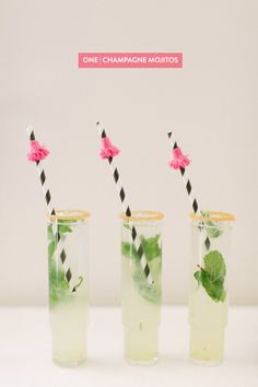 5 Fun Signature Cocktails To Try! Use Champagne Delamotte for the Champagne Mojito! Cocktail Party Food, Party Drinks, Cocktail Drinks, Fun Drinks, Yummy Drinks, Cocktail Recipes, Alcoholic Drinks, Beverages, Cocktail Ideas
