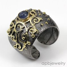 Charming Ring Natural Blue Sapphire 925 Sterling Silver Ring Freesize/R34306 #APBJewelry #Ring